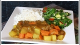 SUNDAY DINNER Garlic Curry Beef & Salad Recipe