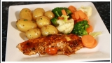 OVEN JERK SALMON WITH NEW POTATOES & VEG
